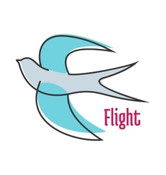 Flying blue swallow in outline style vector