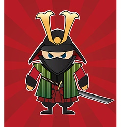 Samurai cartoon on red sunburst background vector