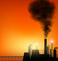 Factory with chimneys and smoke on sunset vector