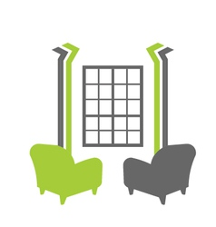 Interior window with sofas vector