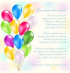 Colorful balloons invitation card vector
