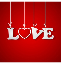 Red background with love inscription vector