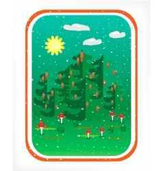 Card with woods vector