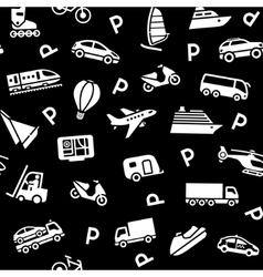 Seamless black background white transport icons vector