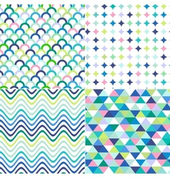 Seamless stripes zig zag and polka dots backgroun vector
