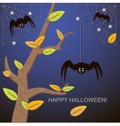 Spiders in the web tree vector