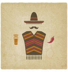 Mexican man with tequila and chili pepper vector