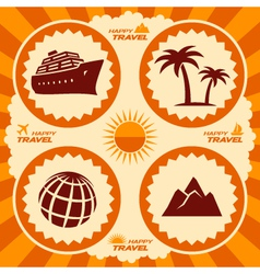 Poster design with travel icons vector
