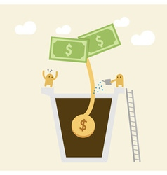 Investment concept watering money vector