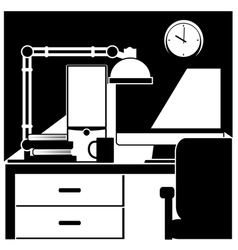 Desktop workstation black and white vector