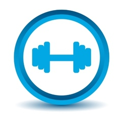 Blue dumbbell icon vector