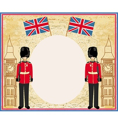 Abstract frame with a flagbeefeater soldier and vector