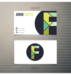 Business card template letter f vector