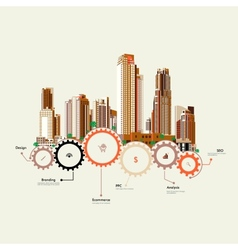 Skyscrapers stand on the gears vector