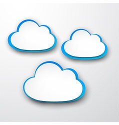 Set of paper white-blue clouds vector