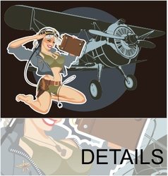 Retro military pin-up vector