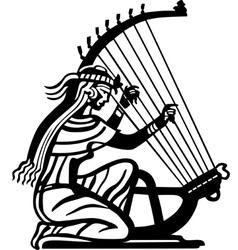 Ancient woman playing harp vector