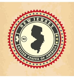 Vintage label-sticker cards of new jersey vector
