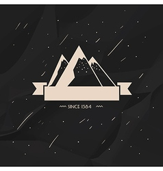 Label high snow capped mountains vector