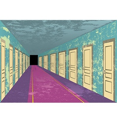 Grungy abandoned hotel hall vector
