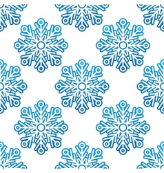 Winter semless pattern with blue snowflakes vector