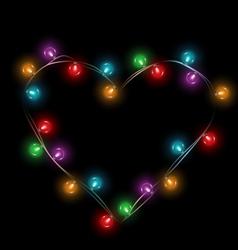 Multicolored glassy lights like heart frame vector