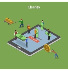 Charity flat isometric concept vector
