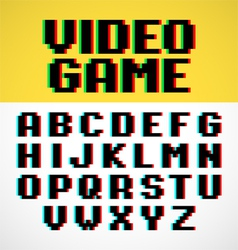 Video game pixel font with distortion vector