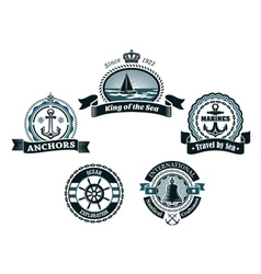 Retro blue nautical labels and badges vector