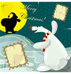 Polar bear christmas card vector