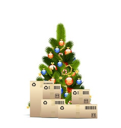 Christmas tree with cardboard boxes vector