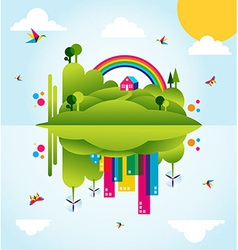 Happy green city spring time concept vector