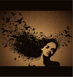 Woman with birds flying from her hair vector