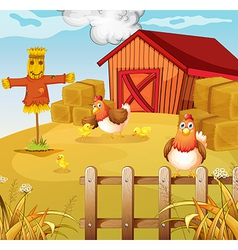A farm with two chickens and three chicks vector