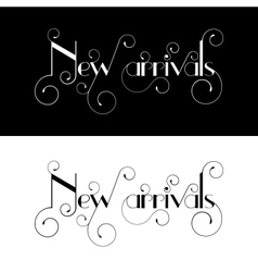 New arrival typography label design vector