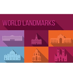 World landmarks famous buildings europe america vector