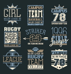Rugby and baseball team college emblems vector