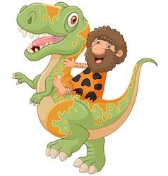 Carton caveman riding a dinosaur vector