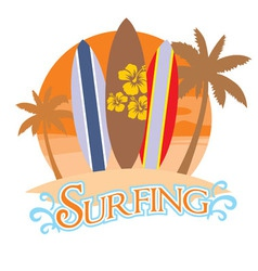 Three surf board on a beach vector