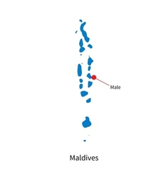 Detailed map of maldives and capital city male vector
