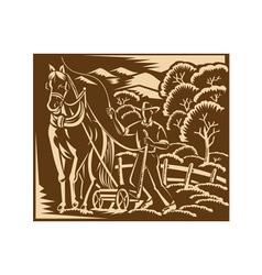 Farmer farming plowing with farm horse retro vector