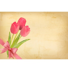 Holiday vintage background with pink flowers and vector