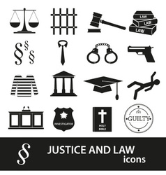 Justice and law black icons set eps10 vector