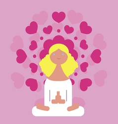 Young girl meditation vector