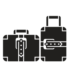 Suitcases black and white icon sign vector