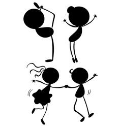 Silhouettes of dancers vector