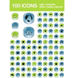 Set of 100 glossy web icons vector