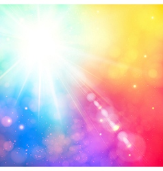 Bright shining sun with lens flare soft background vector
