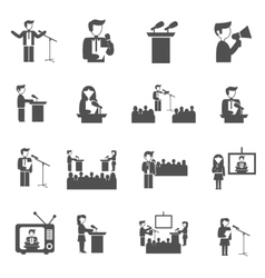 Public speaking icons set vector