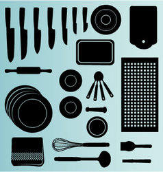 Silhouettes of kitchenware icon vector